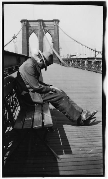 [Man Sleeping on Bench, Brooklyn Bridge, New York City] 1928-29 Walker Evans